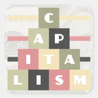 Capitalismo Pegatina Cuadrada