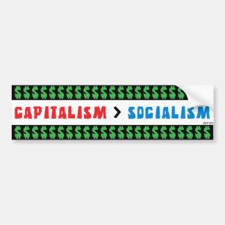 Capitalismo sobre socialismo pegatina para auto