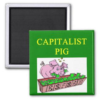 capitalist pig money joke 2 inch square magnet