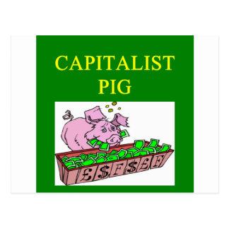 capitalist pig money joke postcards
