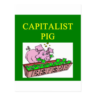 capitalist pig money joke postcard