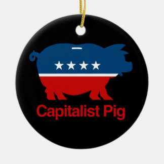 Capitalist Pig.png Double-Sided Ceramic Round Christmas Ornament
