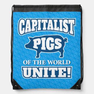 Capitalist Pigs of the World Unite Slogan Drawstring Backpack