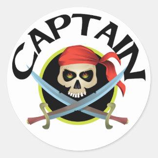 capitán 3D Pegatina Redonda