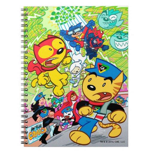 Capitán Action Cat Notebook Libros De Apuntes