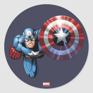 Capitán América monta Pegatina Redonda