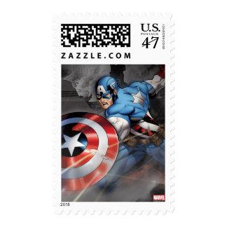 Capitán América que desvía ataque Sellos
