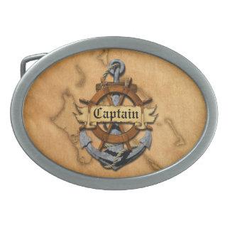 Capitán Anchor y rueda Hebillas De Cinturon Ovales