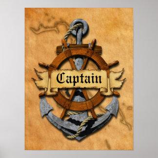 Capitán Anchor y rueda Póster