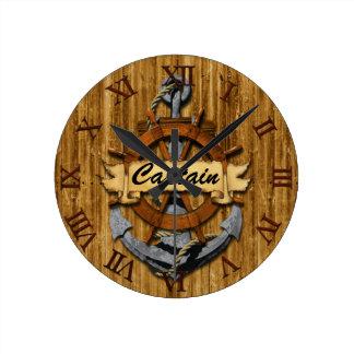 Capitán Anchor y rueda Reloj Redondo Mediano