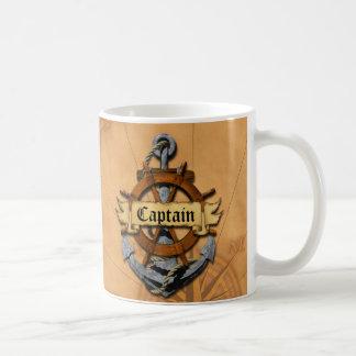 Capitán Anchor y rueda Taza Básica Blanca