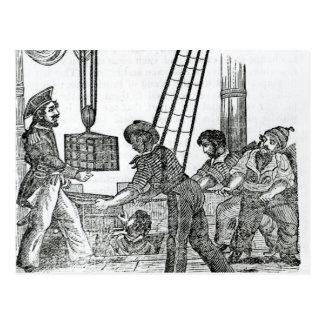 Capitán Avery que recibe tres pechos de tesoro Tarjeta Postal
