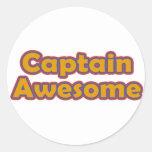 Capitán Awesome Pegatina Redonda