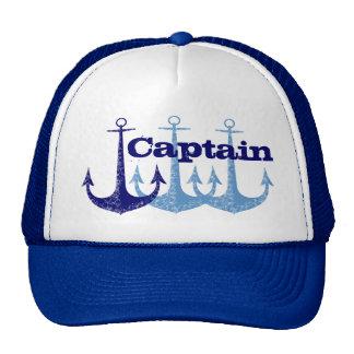 Capitán azul del ancla, muchacho personalizado gorro de camionero