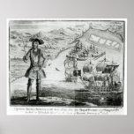Capitán Bartholomew Roberts con dos naves Póster