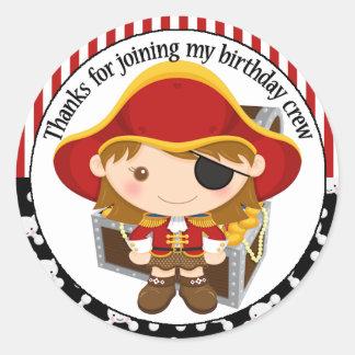 Capitán Birthday Thank You del pirata Pegatinas Redondas