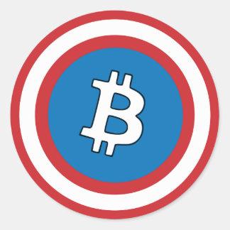 Capitán Bitcoin Sticker Pegatina Redonda
