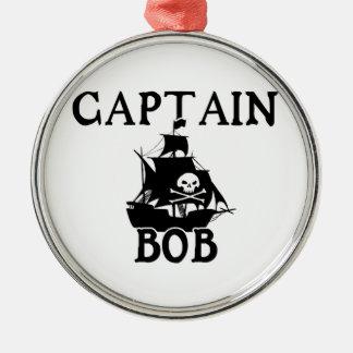 Capitán Bob (barco pirata) Adorno Redondo Plateado