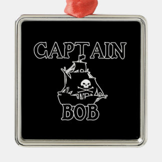 Capitán Bob (barco pirata) Adorno Cuadrado Plateado