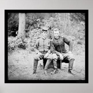 Capitán Custer con un preso confederado 1862 Póster