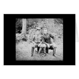 Capitán Custer con un preso confederado 1862 Tarjeta De Felicitación