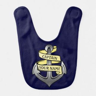 Capitán de buque adaptable su ancla conocida baberos para bebé
