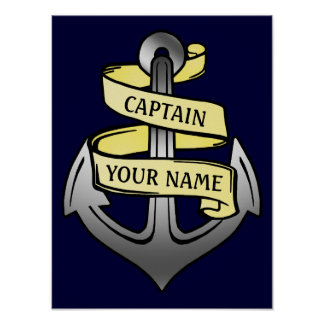 Capitán de buque adaptable su ancla conocida poster