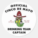 Capitán de consumición del equipo de Cinco de Mayo Etiqueta Redonda