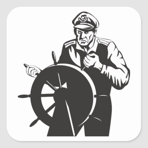 Capitán de mar del pescador en el timón retro pegatina cuadrada
