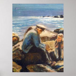 Capitán de mar e impresión del muchacho póster