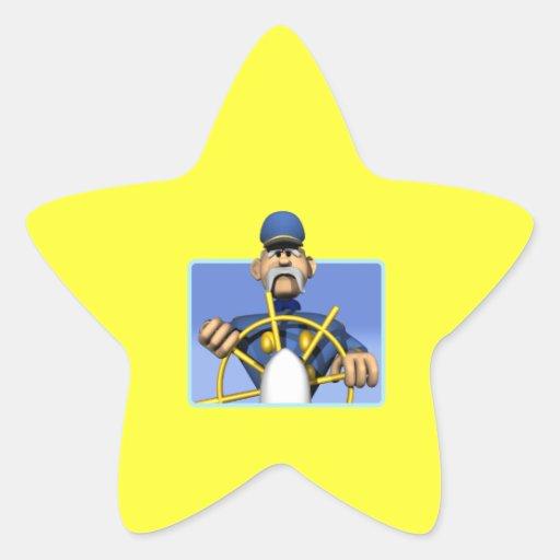 Capitán de mar pegatina en forma de estrella