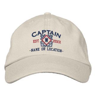 Capitán de mar personalizado monograma náutico y gorra de beisbol