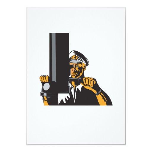 """Capitán de marina de guerra marinero con el invitación 4.5"""" x 6.25"""""""