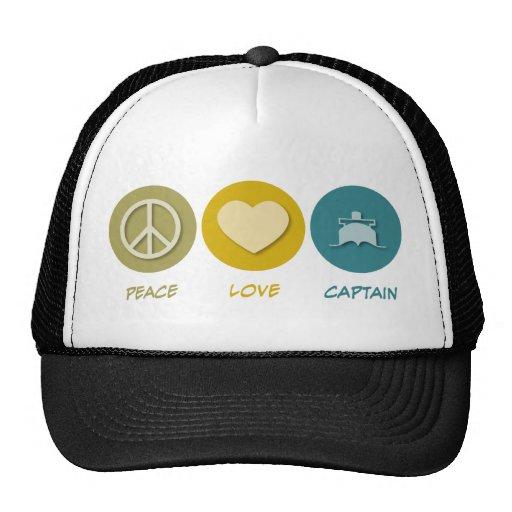 Capitán del amor de la paz gorros