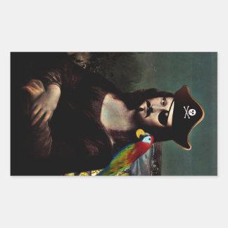 Capitán del pirata de Mona Lisa - bigote Rectangular Pegatina
