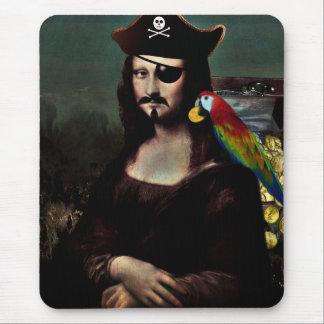 Capitán del pirata de Mona Lisa - bigote Tapetes De Ratones