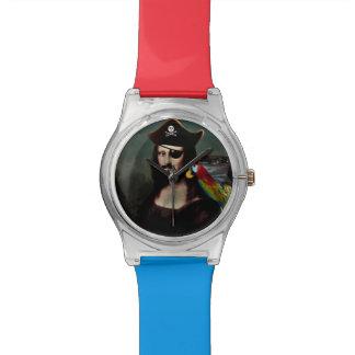 Capitán del pirata de Mona Lisa con el bigote Relojes De Mano