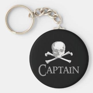 Capitán del pirata llavero redondo tipo pin