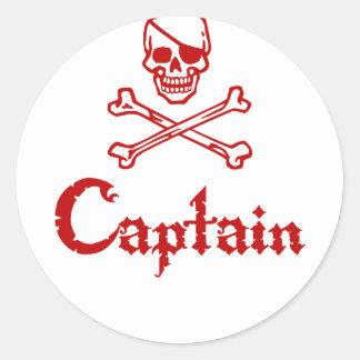 Capitán del pirata pegatinas redondas