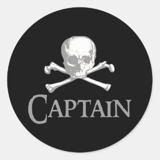 Capitán del pirata pegatina redonda