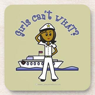 Capitán femenino ligero posavasos de bebida