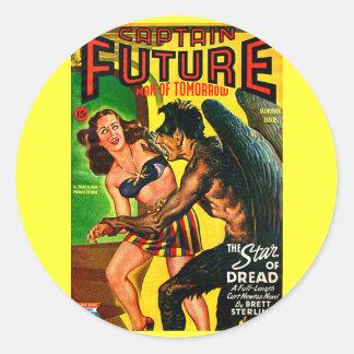 ¡Capitán Future - pavor de la estrella! Pegatina Redonda