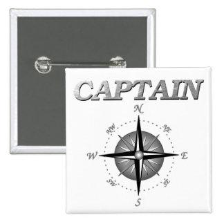 Capitán gris con el rosa de compás pin cuadrada 5 cm