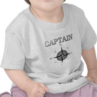 Capitán gris con el rosa de compás camisetas