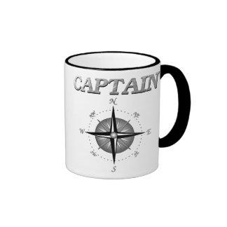 Capitán gris con el rosa de compás taza a dos colores