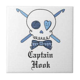 Capitán Hook Skull y ganchos de ganchillo (azules) Azulejos Cerámicos