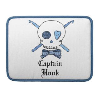 Capitán Hook Skull y ganchos de ganchillo (azules) Fundas Para Macbooks