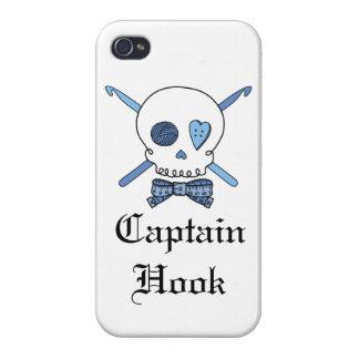 Capitán Hook Skull y ganchos de ganchillo (azules) iPhone 4/4S Fundas