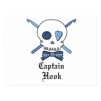 Capitán Hook Skull y ganchos de ganchillo (azules) Postales