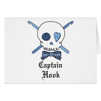 Capitán Hook Skull y ganchos de ganchillo azules Tarjeta